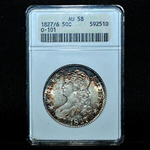 1827/6 CAPPED BUST HALF DOLLAR ✪ ANACS AU-58 ✪ 50C ALMOST UNCIRCULATED ◢TRUSTED◣