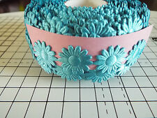 2m -Turquoise, Daisy Flower Motif,Applique,Trimmings,Wedding - Satin Lace Ribbon