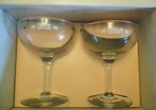 Bride and Groom Lettered Wedding Toast Champagne Glasses.