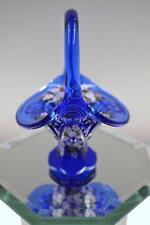 Fenton BASKET Mini Cobalt Blue WILDFLOWERS w Swarovski OOAK FREEusaSHIP