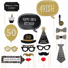 20pcs 50th Black Gold Birthday Party Photo Booth Props Favour Photography Fun