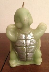"""Vintage Turtle Shaped Wax Candle Super Cute Happy Tortoise 6"""""""