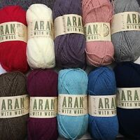 5 x 100g Balls Hayfield Aran With Wool/Yarn for Knitting and Crochet