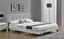 Fabric Silver Crushed Velvet Double Bed Frame 4FT6