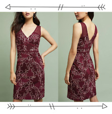 NWT! SO RARE $198 Anthropologie Ariana Lace Embroidered Column V Back Dress 0 XS