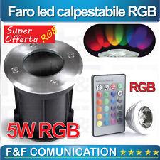 FARO FARETTO LED CALPESTABILE CARRABILE TERRA RGB TELECOMANDO  EFFETTI LUCE 5W