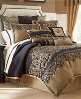 WATERFORD Bannon  Embroidered Neckroll Bolster Toss Pillow Black Gold Tassel