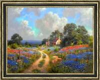 "Hand-painted Original Oil painting art landscape Flower sea on Canvas 36""X48"""