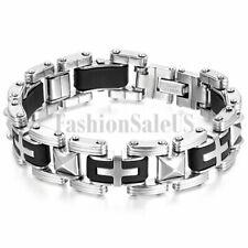 """16mm Stainless Steel Rubber Cross Bracelet Men's Stylish Biker Bangle Cuff 8.5"""""""