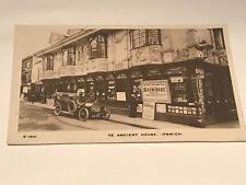 ORG 1909 WHS RP POSTCARD PARADE book shop edwardian car MADAME CHAMINADE IPSWICH