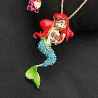 Betsey Johnson Colorful Enamel Crystal Mermaid Pendant Sweater Chain Necklace
