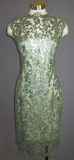 16 TADASHI SHOJI Celadon Green Sequin Embroidered K/L Sheath Dress NWT $318
