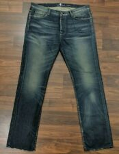 New 7 For All Mankind Aiden Mens Jeans Straight Leg Button Fly Dark Wash 38 x 34