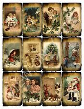 12 Grungy Primitive Christmas Winter Hang Tags Scrapbooking Paper Crafts (117)