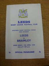 12/04/1974 liga de rugby programa: Leeds V Bramley. gracias por ver este que