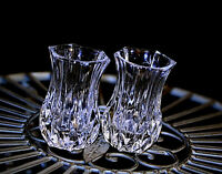 Vintage Pair of Heavy High Quality Small Crystal Cut Glass Vases