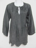 Johnny Was Womens Tunic Blouse Silk Embroidered Steel Gray Boho SIze S Imperfect