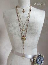 Vintage Danish PILGRIM Necklace Heart Deer KITSCH DEVOTION Gold/Sienna BNWT