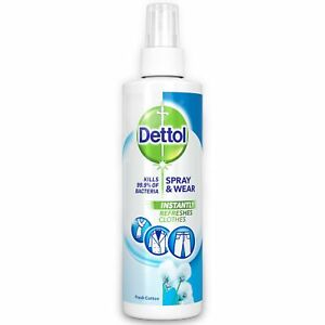 Dettol Antibacterial Spray and Wear Fabric Clothes Freshener Fresh Cotton 250ml