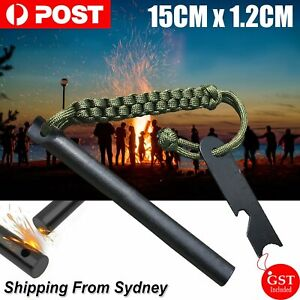 Ferrocerium Flint Rod 15cm x 1.2cm Survival Fire Starter with Striker Para-cord