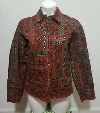 Chico's Reddish Brown Tribal Print Embroidered Long Sleeve Button Front Top Sz 0
