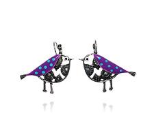 Lol Bijoux - Boucles d'Oreilles Oiseau & Pois - Violet - pOpup-bijOux
