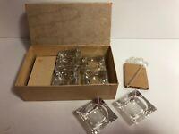 Lot of 14 Vintage Antique Open Glass & Crystal  Salt Cellar Dip & 11 Spoons