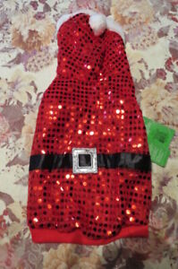 NEW, TOP PAW ADORABLE RED SEQUINED SPARKLING  DOGGIE SANTA HOODIE/COAT, SZ XSM
