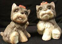 Vintage Pair of Schnauzer Puppy Homco Marked Figurines #1475