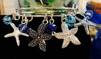 4 Star Fish Silver charms & Ocean Colored Bead Charms Expandable Bangle Bracelet