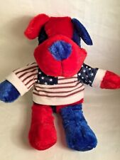 Kuddle Me Toys Red & Blue Stuffed Dog Wearing Red White Blue Patriotic Shirt 15""