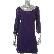 Muse Purple Floral Lace 3/4 Sleeves Knee-Length Party Casual Cocktail Dress 4 -