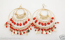 Kenneth Jay Lane Gold 3 Ring Gypsy Hoop Coral drops earrings