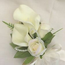 LADIES CORSAGE, IVORY CALA LILIES & ROSES, ARTIFICIAL SILK WEDDING FLOWERS