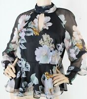 Portmans black floral print long sleeve peplum blouse with high neck - AS NEW 12