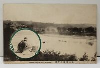 Japan Evening View of River Kitagami Japan to Baltimore Early Photo Postcard C5