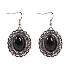 Pretty New Tibetan Silver Black Onyx Oval Shape Artesian Dangle Drop Earrings