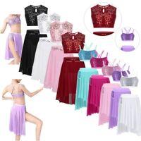 Girls Sequins Ballet Dance Dress Lyrical Costume Gymnastics Crop Top+Tutu Skirt