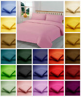 Poly Cotton Duvet Bed Cover + Pillow Case in plain Dyed Colours