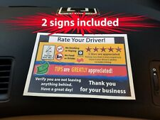 "Uber1/Lyft1 Passenger Rides Increase Tips - 2 Signs - ""Rate Your Driver"" + Tips"