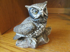 """Vintage Homco Ceramic Owl On a Log #1114 5"""" Tall 5"""" Wide Excellent"""