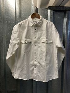 Scott & Dixon Vintage White Denim Western WorkWear Long Sleeve Shirt Size Medium