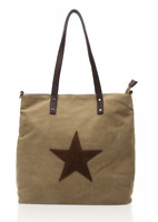 Ladies Canvas Denim Zipped Large Taupe Shoulder Bag with Brown Suede Star Motif