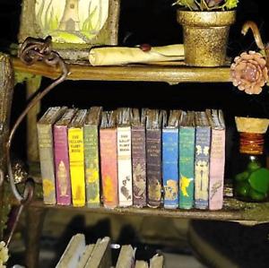 12 VINTAGE FAIRY TALES BOOKS Miniature Dollhouse 1:12 Scale Fill Bookshelf Prop