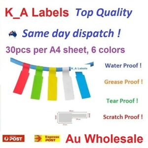A4 30pcs Network Fiber Cable Self-adhesive Label sticker, Water Proof, Printable