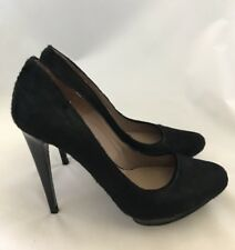 PURA LOPEZ BLACK 4'' HEELS SIZE 7.5 PONY HAIR PLATFORM LEATHER PUMPS STILLETTO