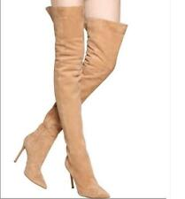 Womens Suede Over The Knee High Boots Stiletto Pointy Toe Thigh High Long Boots