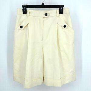 ESCADA Vintage Double Pleated White Cream Wool High Waist Shorts size 40