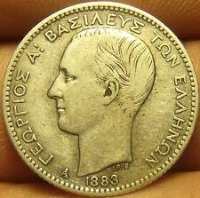Rare Silver Greece 1883-A Drachma~Key Date~Free Shipping