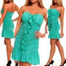 SEXY MISS Femmes Bandeau Push Up Volant Mini Robe Party Dress 34/36/38 Vert Aqua